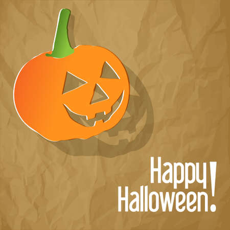 postcard background: Happy Halloween postcard with pumpkin on a crumpled paper brown background.