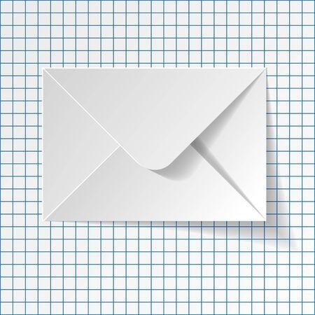 envelope: White envelope on a checkered paper background. Illustration