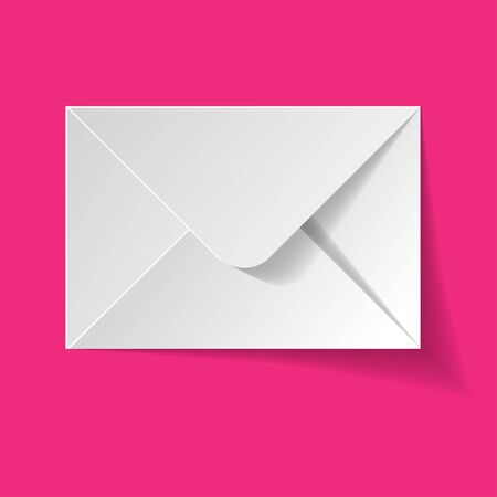 White envelope on a pink background.