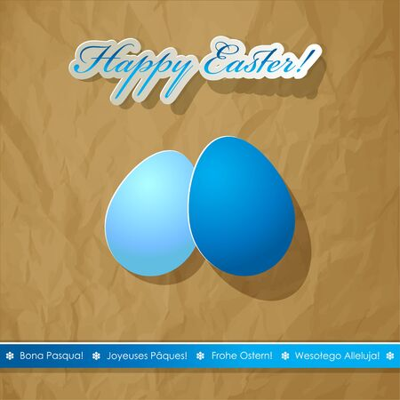 postcard background: Happy Easter eggs scrapbook postcard white blue. International wishes languages. Crumpled paper brown background.