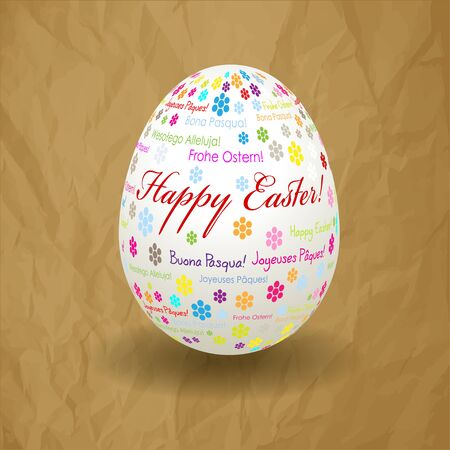 brown egg: Happy Easter Egg on a crumpled paper brown background. Text and flowers colorful. Wishes in the International Language.