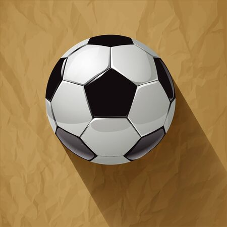 crumpled paper ball: Soccer ball with long shadow on a crumpled paper brown background.