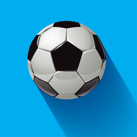 soccer equipment: Soccer ball with long shadow on a blue background.
