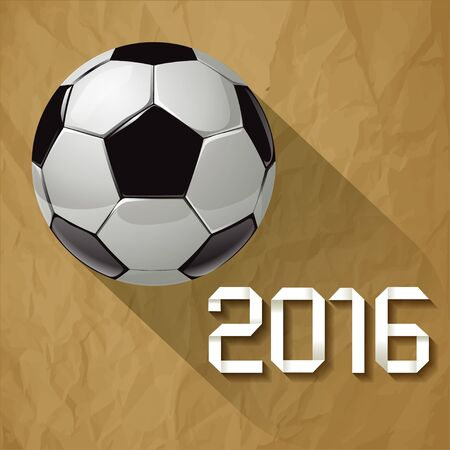 crumpled paper ball: Soccer ball in 2016 with long shadow on a crumpled paper brown background.