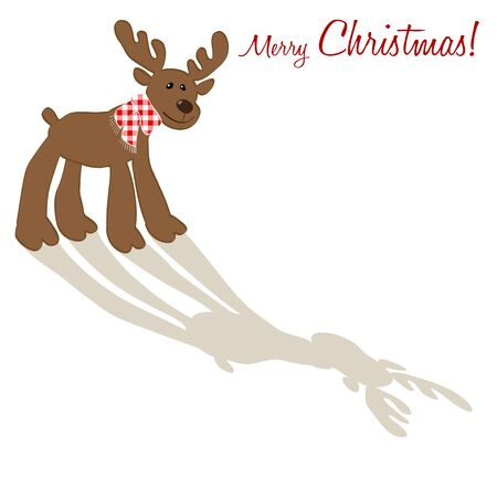 checkered scarf: Merry Christmas postcard with a red checkered scarf in Reindeer. Illustration