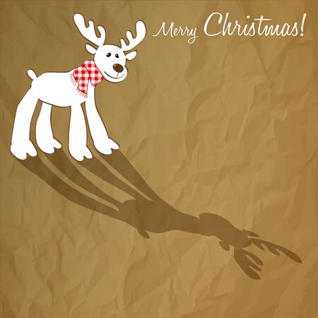 checkered scarf: Merry Christmas postcard with a red checkered scarf in Reindeer on a crumpled paper brown background.
