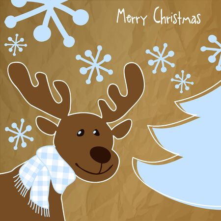 Merry Christmas postcard with a blue checkered scarf Reindeer in, snowflakes and Christmas Tree on a crumpled paper brown background.