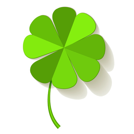 irish culture: Four Leaf Clover on a white background.