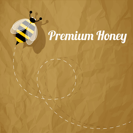 buzzer: Premium Honey Bee on a crumpled paper brown background.