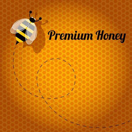 miel de abeja: Prima de abeja de la miel en un fondo de nido de abeja de color naranja.