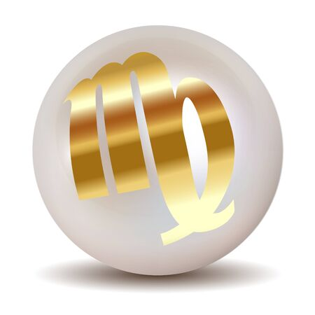 pearl background: Pearl - Gold horoscope signs of the zodiac Virgo August 2023 - September 22th.