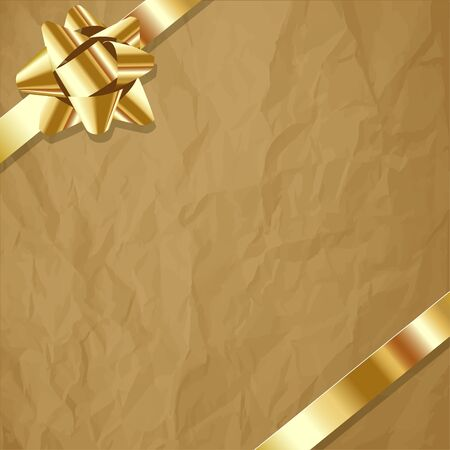 exempted: Gold ribbon on a crumpled paper brown background.