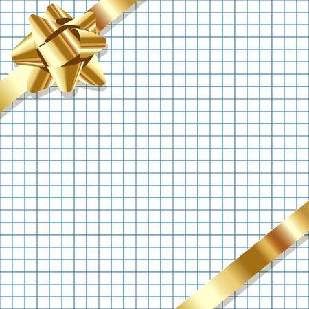 exempted: Gold ribbon on a checkered paper background.