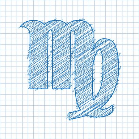 ballpen: Virgo, August 2023 - September 22th. HOROSCOPE SIGNS OF THE ZODIAC - Ballpen blue scribble on a checkered paper background. Illustration