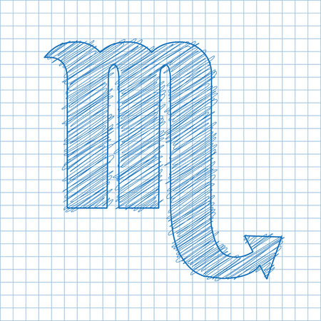 ballpen: Scorpio, 23 October - 21 November. HOROSCOPE SIGNS OF THE ZODIAC - Ballpen blue scribble on a checkered paper background.