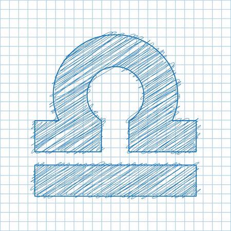 ballpen: Libra, September 23 - 22 October. HOROSCOPE SIGNS OF THE ZODIAC - Ballpen blue scribble on a checkered paper background. Illustration