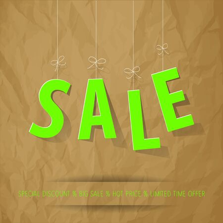 neon green: SALE paper letters neon green on a crumpled paper brown background.