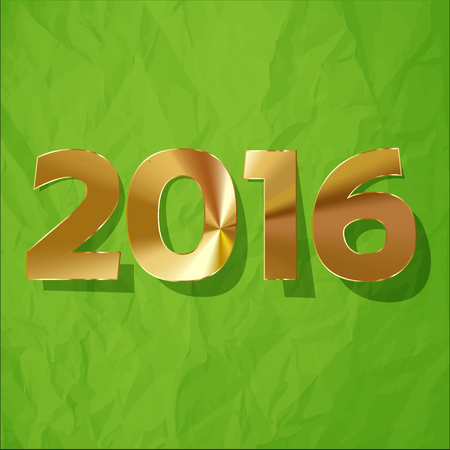 paper origami: 2016 GoldenDigits on a crumpled paper green background.