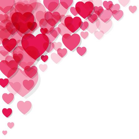 Valentijnsdag roze hart in de hoek op een witte achtergrond.