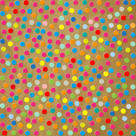 decoration decorative disguise: Polka dots paper colorful confetti pattern on a crumpled paper brown background.