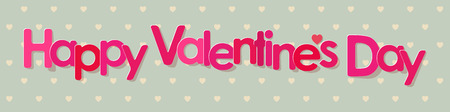 valentine's day banner: Valentines Day Banner pink Letters on a Hearts Pattern Background.