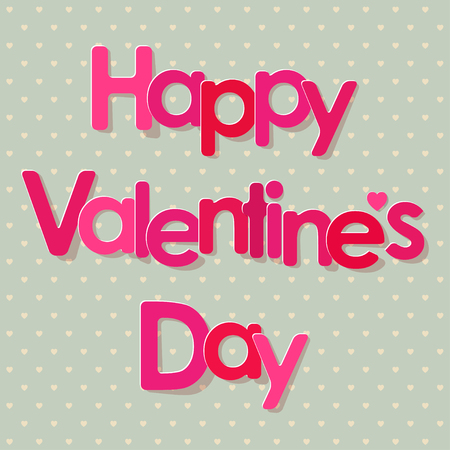 postcard background: Valentines Day Postcard Pink Letters on a Hearts Pattern Background. Illustration