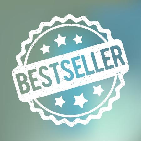recompense: Bestseller rubber stamp white on a blue background fog. Illustration