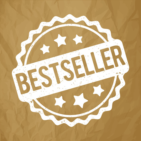 Bestseller rubber stamp red on a crumpled brown paper background. Illustration