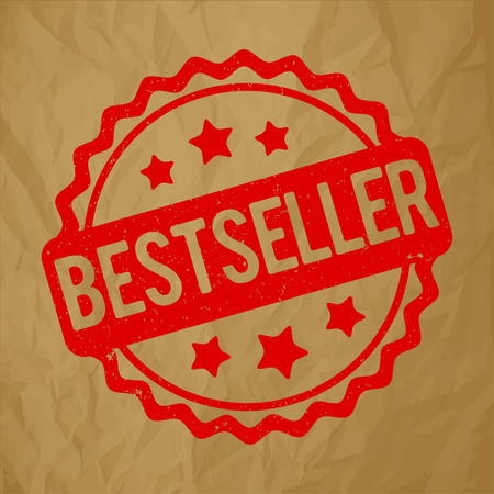 quality icon: Bestseller rubber stamp red on a crumpled brown paper background. Illustration