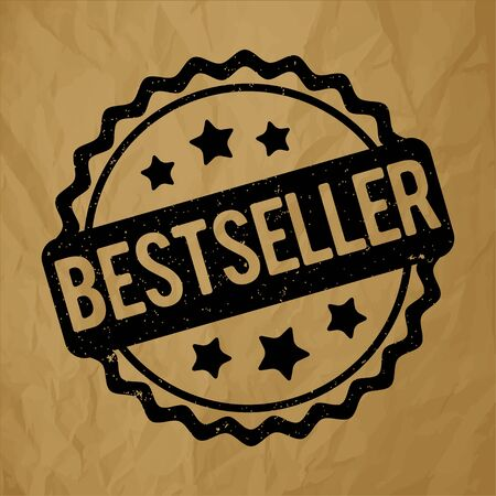 bestseller: Bestseller rubber stamp black on a crumpled paper brown background.