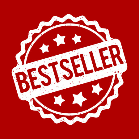 Bestseller rubber stamp on a red background.