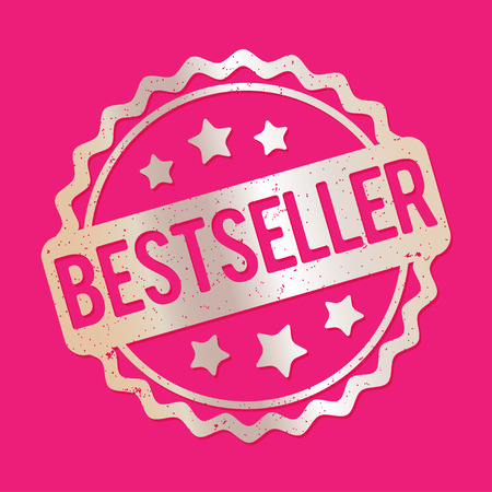 bestseller: Bestseller rubber stamp silver on a pink background.