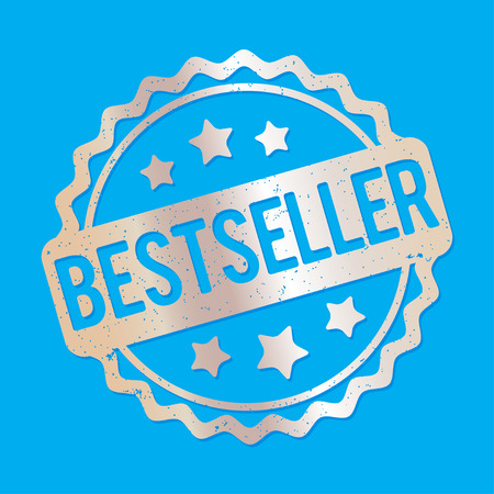 bestseller: Bestseller rubber stamp silver on a blue background.