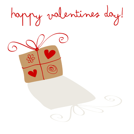 postcard background: Happy Valentines Day Postcard with poison on a white background. Illustration