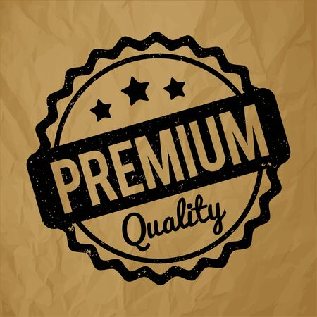 recompense: Premium Quality rubber stamp black on a crumpled paper brown background. Illustration