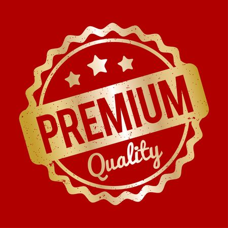 recompense: Premium Quality rubber stamp gold on a red background.