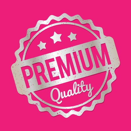 recompense: Premium Quality rubber stamp silver on a pink background.