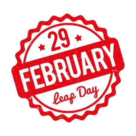 29 februari Leap Day rubber stempel Rode op een witte achtergrond.