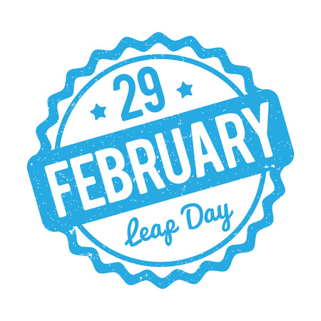 leap: 29 February Leap Day rubber stamp blue on a white background.