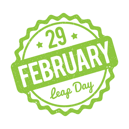 leap: 29 February Leap Day rubber stamp green on a white background. Illustration