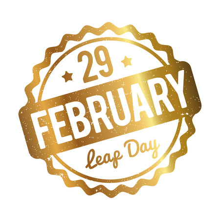 february: 29 February Leap Day rubber stamp gold on a white background. Illustration