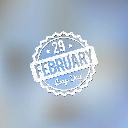 february: 29 February Leap Day rubber stamp white on a light blue background bokeh fog. Illustration