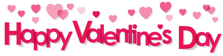 text background: Valentines Day Banner pink Letters on a white background.