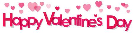 Valentinstag Banner rosa Buchstaben auf einem weißen Hintergrund.