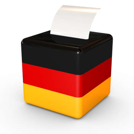 balloting: Election in Germany: ballot box with voicing paper on a white background.