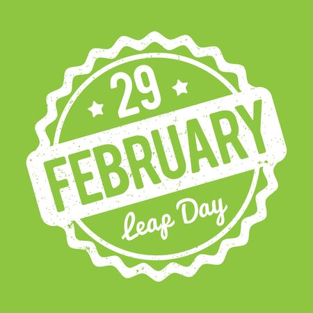 leap: 29 February Leap Day rubber stamp white on a green background. Illustration