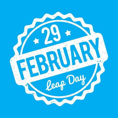29: 29 February Leap Day rubber stamp on a blue background.