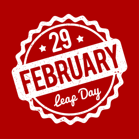 29: 29 February Leap Day rubber stamp on a red background.