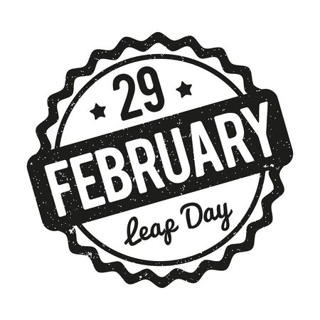 29: 29 February Leap Day rubber stamp black on a white background. Illustration