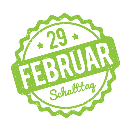 29: Leap day February 29 German stamp green on a white background.